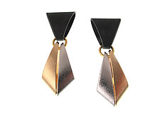 Geometric Drop Earrings with Black Enamel Top and Gold Rhodium Drop by Erica Zap (Metal Earrings)