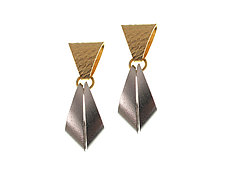 Geometric Drop Earrings with Gold top and Rhodium bottom by Erica Zap (Metal Earrings)