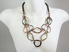 Antique Finish Mesh Necklace with Double Strand of Hammered Ovals by Erica Zap (Metal Necklace)