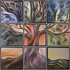 Tree of Life Backsplash by Natalie Blake (Ceramic Wall Sculpture)