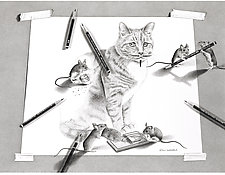 When the Artist is Away, the Mice Will Play by Robin Lauersdorf (Giclee Print)