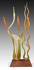 Dancing in the Marsh - Autumn by Warner Whitfield and Beatriz Kelemen (Art Glass Sculpture)