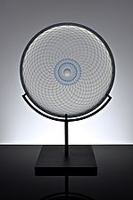 Reticello Lens in Opaline with Blue Center by Marc Carmen (Art Glass Sculpture)
