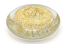 Optical Bowl With Gold Coral Murrini by Marc Carmen (Art Glass Bowl)