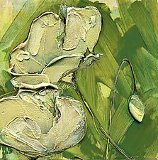 Yellow Poppies on Green by Denise Souza Finney (Acrylic Painting)