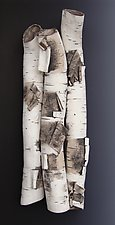 Birch in High Relief Three by Lenore Lampi (Ceramic Wall Sculpture)