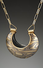 Jaipur Reversible Pendant in Aspen Nights by Lisa Jane Grant (Gold & Silver Necklace)