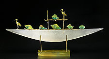 White Ibis Boat by Georgia Pozycinski and Joseph Pozycinski (Art Glass & Bronze Sculpture)