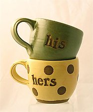 His and Hers Mugs by Louise Bilodeau (Ceramic Mug)