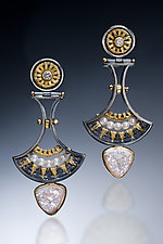 Drop Earrings by Sally Craig (Gold, Silver & Stone Earrings)