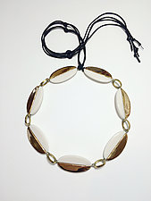White and Gold Ellipse Necklace by Syra Gomez (Ceramic Necklace)