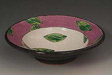 Violet Leaf Serving Bowl by Farraday Newsome (Ceramic Bowl)