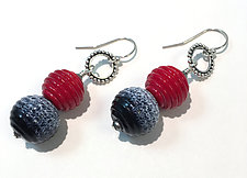 Ridged Spheres by Sher Berman (Art Glass Earrings)