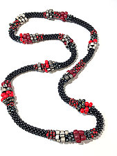 Red & Black Mix Necklace by Sher Berman (Beaded Necklace)