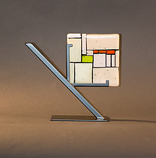 Beige Tiles by Vicky Kokolski and Meg Branzetti (Art Glass Sculpture)