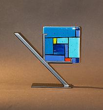 Blue Tiles by Vicky Kokolski and Meg Branzetti (Art Glass Sculpture)