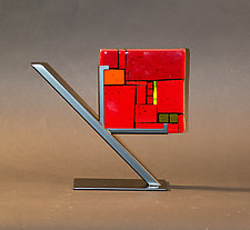 Red Tiles by Vicky Kokolski and Meg Branzetti (Art Glass Sculpture)