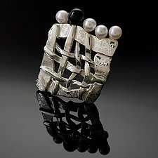 Woven Soft Square Shield Brooch by Chi Cheng Lee (Silver, Stone, & Pearl Brooch)