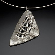 Woven Soft Triangle Necklace by Chi Cheng Lee (Silver Necklace)