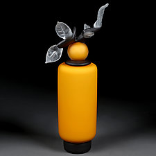 Novi Zivot (New Life) Saffron Satin Tall Cylinder by Eric Bladholm (Art Glass Vessel)