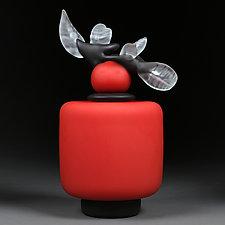 Novi Zivot (New Life) Satin Crimson Short Cylinder by Eric Bladholm (Art Glass Vessel)