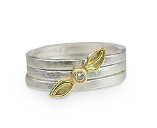 Falling Leaf Stacking Rings by Nancy Troske (Gold, Silver & Stone Ring)