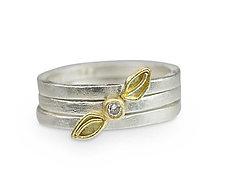 Falling Leaf Stacking Rings by Nancy Troske (Gold, Silver & Stone Ring)