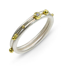 Asymmetrical Wedding Ring by Nancy Troske (Gold, Silver & Stone Ring)