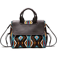 Virginia Embroidered Leather Bag by Maliparmi  (Leather Bag)