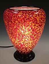 Red, Yellow & Brown Lamp by Curt Brock (Art Glass Table Lamp)