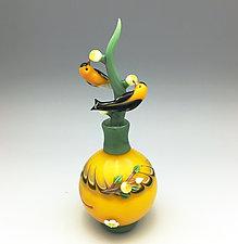 Gold Finch Perfume Bottle by Chris Pantos (Art Glass Perfume Bottle)