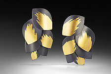 Leaf Cluster Earrings by Judith Neugebauer (Gold & Silver Earrings)