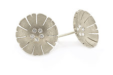 Flower Earring in 18k White and Diamond by Catherine Iskiw (Gold & Stone Earrings)