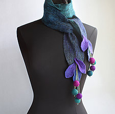 Forest Scarf in Purple and Turquoise by Mila Sherrer  (Felted Wool Scarf)