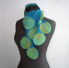 Dancing Leaves Scarf in Green by Mila Sherrer  (Felted Wool Scarf)