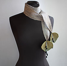 Meadow Scarf in Gray by Mila Sherrer  (Felted Wool Scarf)