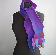 Berries Scarf in Purple and Turquoise by Mila Sherrer  (Felted Wool Scarf)