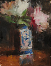 Abigail's Peonies by Leslie Dyas (Oil Painting)