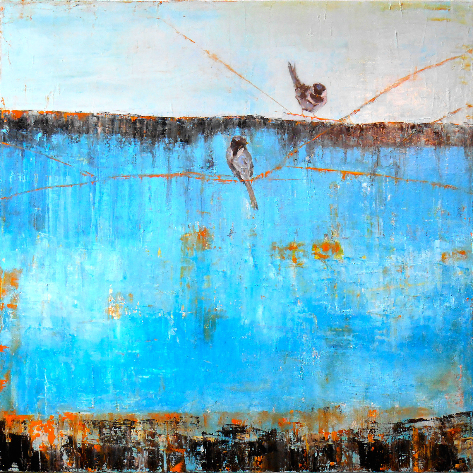Blue horizon with birds by janice sugg oil painting for Will oil paint stick to glass