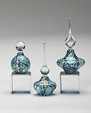 Cherry Blossom Perfume Bottles: Blue by Bryce Dimitruk (Art Glass Perfume Bottle)