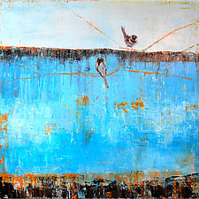 Blue Horizon with Birds by Janice Sugg (Oil Painting)