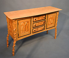 Sculpted Console by John Wesley Williams (Wood Cabinet)