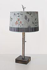 Steel Table Lamp on Wood with Large Drum Shade in Flora and Maze by Janna Ugone (Mixed-Media Table Lamp)