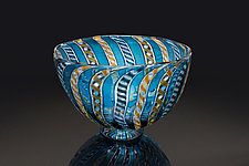 Blue Zanfirico Bowl by April Wagner (Art Glass Bowl)