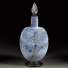 Winter Willow Decorative Bottle - Large Elongated Sphere by Eric Bladholm (Art Glass Vessel)