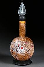 Summer Staccato Decorative Bottle - Tall Sphere by Eric Bladholm (Art Glass Vessel)