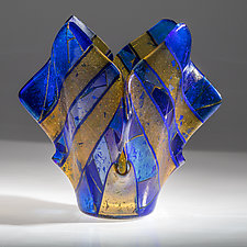 Sapphire and Gold Vessel by Varda Avnisan (Art Glass Vessel)