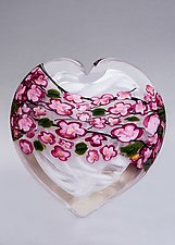 Cherry Blossom Heart on White by Shawn Messenger (Art Glass Paperweight)