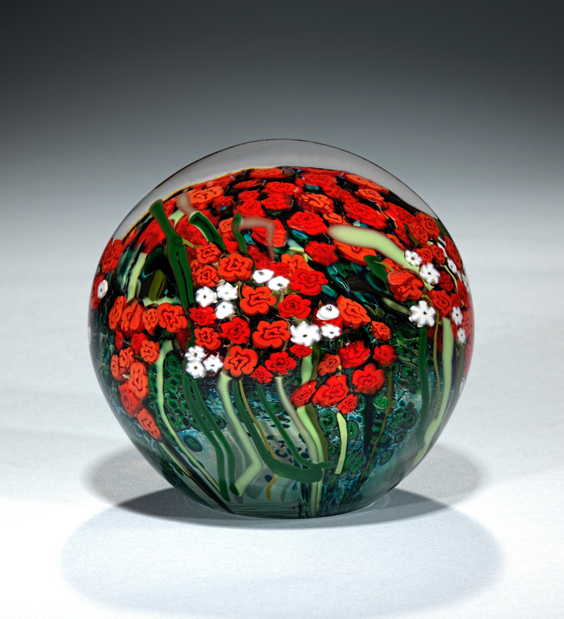 Large Red Rose And Baby S Breath Bouquet Paperweight By Shawn Messenger Art Glass Paperweight Artful Home
