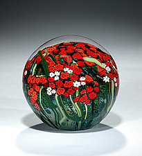 Large Red Rose and Baby's Breath Bouquet Paperweight by Shawn Messenger (Art Glass Paperweight)